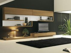 wohnzimmer modern einrichten schrank aus holz tv schwarzes teppich