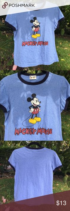 """Mickey Mouse ringer neck t-shirt Walt Disney World light blue ringer neck tee shirt ... ladies medium (no size tag.. check out measurements) 18"""" from armpit to armpit... approx 21"""" from shoulder to hemline. Mickey's shorts are sparkly as are the letters in his name ❤️ very good, gently worn condition from smoke free home ( no holes, tears, stains, etc!) Tops Tees - Short Sleeve"""