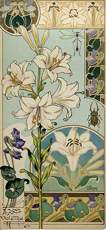 Art Nouveau - floral abstractions, vine tendrils, use of circles, borders, hand drawn type, embellished stroke endings Rare French 1890s floral portfolio 'Etudes de Fleurs' by Riom.