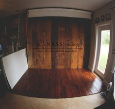 Wood floor, natural light window, reflector for the photography studio