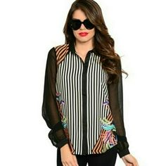 Multi colored Striped Blouse Striped Blouse in black, white, and orange. Black sheer sleeves. Multi colored print on front, sides, and back. FAST shipping! Ark & Co Tops Blouses