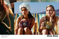 Miu Miu unveils a beach lensed spring-summer 2017 campaign inspired by the collection's swimwear theme. Photographer, Alasdair McLellan captures a cast featuring actress, Elle Fanning alongside top fashion models including Karen Elson, Carolyn Karen Elson, Elle Fanning, Carolyn Murphy, Miu Miu, Fashion Advertising, Advertising Campaign, Brand Campaign, Campaign Fashion, Print Advertising