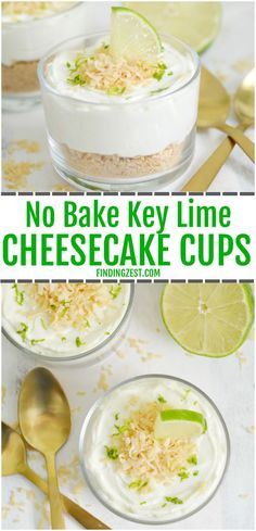 Make dessert in just 15 minutes with these no-bake key lime cheesecake cups! These parfaits can be whipped up in no time using Dannon Oikos Greek yogurt and cream cheese. Topped with toasted coconut, this dessert is sure dazzle your taste buds! Key Lime Cheesecake, Cheesecake Cups, Healthy Cheesecake, Coconut Cheesecake, Cheesecake Recipes, Dessert Cups, Pie Dessert, Dessert Recipes, Pudding Desserts