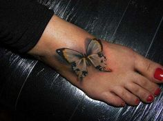 Meaning of butterfly tattoos and pictures of cute and small Butterfly Tattoo designs and images for on the wrist, shoulder, foot or lower back. Butterfly Tattoo Cover Up, Butterfly Tattoo On Shoulder, Butterfly Tattoos For Women, Butterfly Tattoo Designs, Big Butterfly, Yellow Butterfly Tattoo, Butterfly Kisses, Butterfly Design, Heel Tattoos