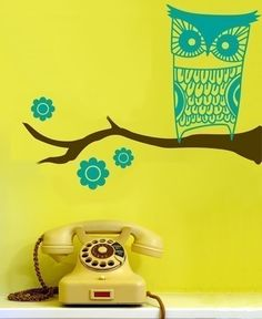 Vinyl Wall Art Decal--Owl on a branch