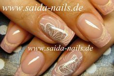 Neutral french manicure with nail art