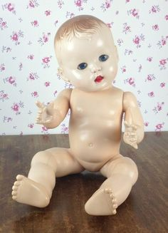 Rosebud hard plastic doll 1950s, possibly the mould for her was made by my Grandfather Jack Morris