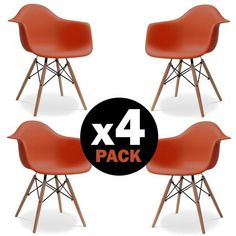 Pack 4 Chaises Eames Daw Dark Orange #DécoScandinave