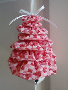 Your place to buy and sell all things handmade Pink Gingham, Gingham Check, Check Printing, Printing On Fabric, Tree Shapes, Twinkle Lights, Country Primitive, How To Make Ornaments, Jingle Bells