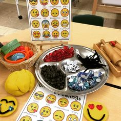 Are your students interested in emojis? Mine are obsessed! We stumbled upon this interest after setting out some loose parts for the children to explore in the first few weeks of school. One studen… Emotions Activities, School Age Activities, Playdough Activities, Playdough Diy, Teaching Emotions, Children Activities, Learning Activities, Teaching Ideas, Kindergarten Centers