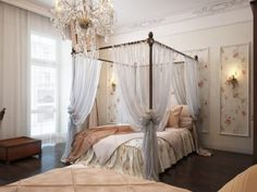 Canopy Bed Drapery overstock - sheer netting panel - enclose your bedroom in
