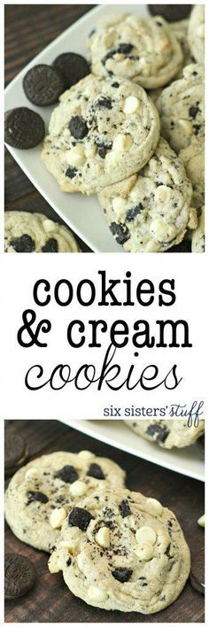 Cookies And Cream Cookies - Six Sisters' Stuff | These cookies are loaded with Oreo's and the secret ingredient is a box of cookies and cream pudding, making them so soft and full of flavor! #bestdesserts #cookierecipe #sixsistersrecipes