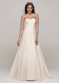 Jeff approved. This elegant sweetheart A-line with lace appliques is perfect for a timeless and traditional look! Sweetheart strapless neckline features beautiful lace applique detail... Learn more