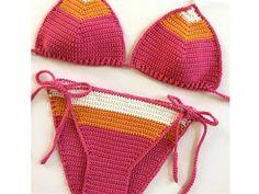 Karışık Renkli Örgü Bikini