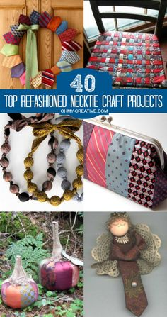 40 Top Refashioned Necktie Craft Projects Don't throw dad's old ties away, but give them new life in a refashioned form. Here are 40 Top Refashioned Necktie Craft Projects including decor for the home, purses, jewelry and accessories and more! Be creative Fun Diy Crafts, Diy Craft Projects, Diy Necktie Projects, Kids Crafts, Fabric Crafts, Sewing Crafts, Mens Ties Crafts, Neck Tie Crafts, Wallpaper Collage