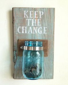 KEEP THE CHANGE Laundry room decor by shoponelove on Etsy. Would be an easy DIY and a really great idea for my laundry room Sharpie Crafts, Diy Crafts, Change Jar, Ideias Diy, Deco Design, Do It Yourself Home, My New Room, Dollar Stores, Home Projects