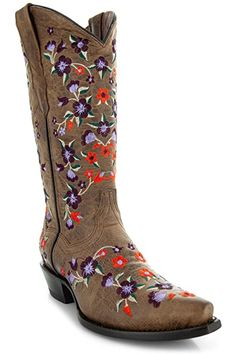 Amazon.com | Soto Boots Women's Jasmine Floral Square Toe Cowgirl Boots M50043 (Tan, 5.5 B(M) US) | Mid-Calf Girl Cowboy Boots, Cowgirl Style, Fashion Boots, Cowgirl Fashion, Best Winter Boots, Boots Store, Snow Boots Women, Pull On Boots, Bearpaw Boots