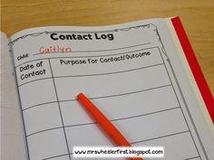 Mrs. Wheeler's First Grade Tidbits: Parent Contact Log