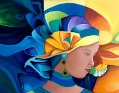 Olieverf schilderij gemaakt door Els ( geïnspireerd door Orestes Bouzon)  Titel: Met je gezicht naar het licht, vallen schaduwen achter je.