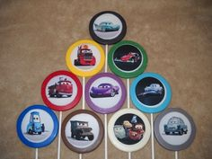 "1 chocolate disney cars mcqueen edible decal 3"" lollipop lollipops 