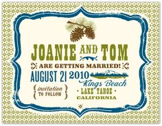 Save the date idea graphics in blue and green