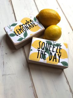 One Mini Lemon Kitchen Sign, Make Lemonade and Squeeze the Day Sign, Mini Farmhouse Kitchen Signs, Tiered Tray Signs - Kitchen Decor Lemonade Sign, Lemonade Stands, Lemon Kitchen Decor, Kitchen Ideas, Farmhouse Kitchen Signs, Farmhouse Decor, Lemon Crafts, Watermelon And Lemon, Lemon Party