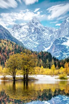 Beautiful landscape view with snowed up mountains in Triglav national park in Slovenia. #Slovenia
