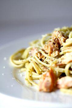 Spaguetti con salmon #recetas familiares