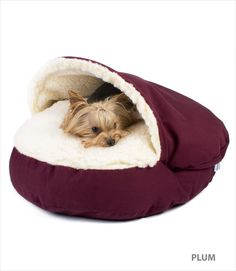 Dogs are a denning animal and therefore feel secure in places like crates, cuddle cups, and especially this Cozy Cave bed. Features a framed faux sheepskin (which dogs love) pocket made for never-want