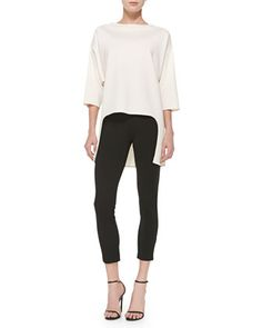 Milano Knit High-Low Top & Stretch Milano Knit Slim Ankle Alexa Pants by St. John Collection at Neiman Marcus.~WANT THIS TOP TOO