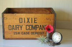 Wood Crate Vintage Dixie Dairy Wood Crate Dixie Dairy Wood Box 25cent Case Dep.