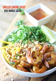 Rice Noodle Salad with Grilled Satay Shrimp recipe by SeasonWithSpice.com @seasonwithspice
