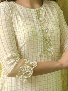 Shop Beige hue checks pattern cotton round neck kurti online from India. Kurti Sleeves Design, Sleeves Designs For Dresses, Neck Designs For Suits, Kurta Neck Design, Dress Neck Designs, Blouse Designs, Sleeve Designs For Kurtis, Churidar Designs, Kurta Designs Women