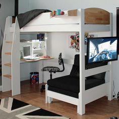 Urban Clip on Shelf Kids Avenue Urban Highsleeper 10 with Sofabed, Folding Desk & Shelves Bedroom Desk, Bedroom Loft, Lego Bedroom, Girls Bedroom Furniture, Minecraft Bedroom, Bed Room, Master Bedroom, Bunk Bed With Desk, Loft Bunk Beds