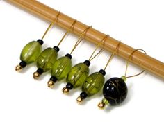 Knitting Stitch Markers Beaded Olive Green Black by TJBdesigns, $7.50 #Etsy #Supplies #Knitting