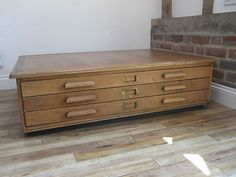 Vintage Oak Architects Industrial Map Plan chest coffee table chest of drawers