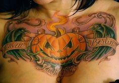 Tattoo by Cory Miller - LA Ink / Six Feet Under - Ravens & Jack-o-Lantern Dream Tattoos, Badass Tattoos, Body Tattoos, Girl Tattoos, Tattoos For Guys, Awesome Tattoos, Chest Piece Tattoos, Chest Tattoo, Halloween Tattoo Flash