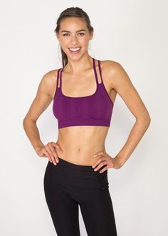 Seamless Jacquard Checked Sports Bra with Strappy Keyhole Back