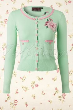 Vixen - Light Green Cardigan with Pink Flowers