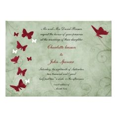 red and green vintage butterfly wedding personalized invitation #MayWeddingPhotoChallenge