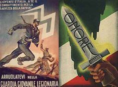 Manifesti fascisti inneggianti la patria e la guerra