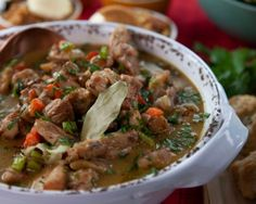 Your favourite vegetables can be found in this thyme-seasoned chicken stew featuring carrots, onions, and celery. Chef Recipes, Soup Recipes, Healthy Recipes, Lamb Ragu, Veal Cutlet, Pork And Cabbage, Boneless Chicken Thighs, Mushroom Soup, Chicken Seasoning