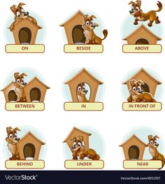 Buy Cartoon Dog In Different Poses To Illustrate by on GraphicRiver. Cartoon dog in different poses to illustrate English prepositions of place. Vector illustration for preschool kids. Learning English For Kids, English Worksheets For Kids, English Lessons For Kids, Kids English, English Activities, Learn English Words, Grammar For Kids, Teaching English Grammar, English Language Learning