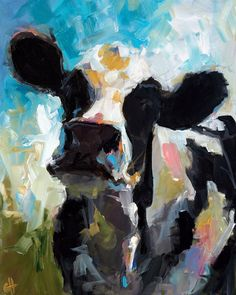 Cow Painting  Daisy  Canvas or Paper print of an by ArtPaperGarden, $24.00