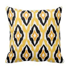 Modern Mustard Black White Ikat Tribal Pattern Throw Pillows #ikatthrowpillow #yellowthrowpillows