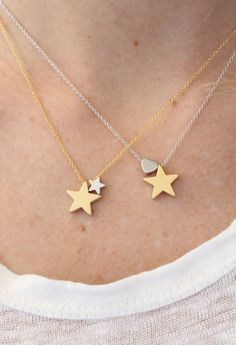 Star and heart necklace. Love necklace. gold por lizaslittlethings