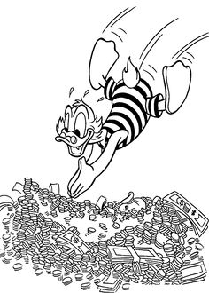 Scrooge swims in money coloring pages for kids, printable free