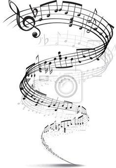 Sticker Musik-Noten in eine Spirale verdreht