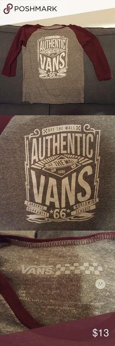 """Vans Women's Top Cute Vans Top. 3/4"""" sleeve, heather gray with maroon sleeves and white letters. Size M but fits snug feel it would better fit a small. Polyester, cotton, rayon blend. Good used condition. Vans Tops Tees - Long Sleeve"""