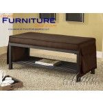 Contemporary Chocolate Fabric Metal Bench   SPECIAL PRICE: $228.99